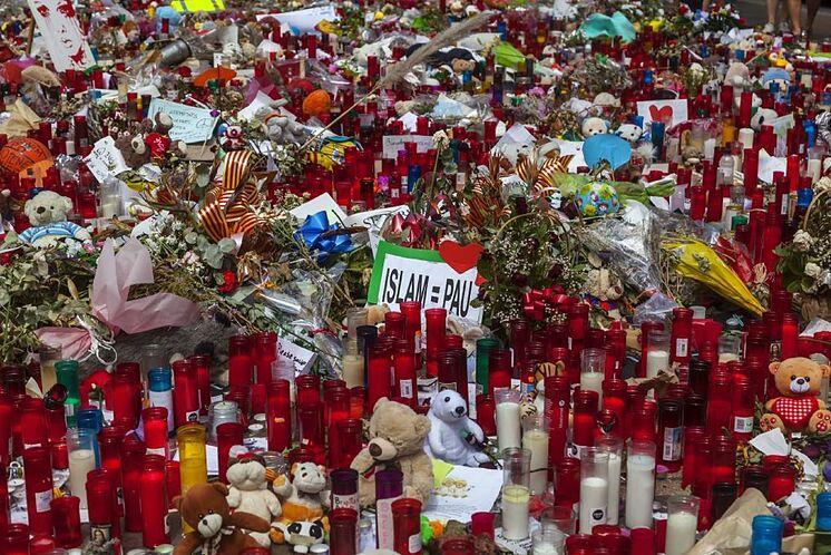Las ramblas après les attentats de Barcelone.