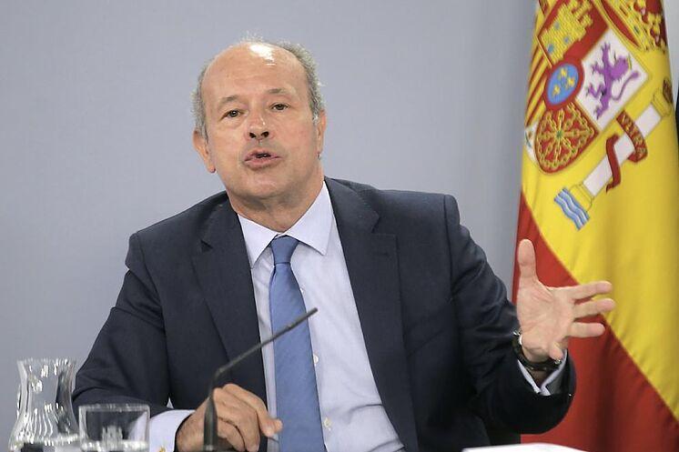 Juan Carlos Campo, lors d'une conférence de presse après le Conseil des ministres.