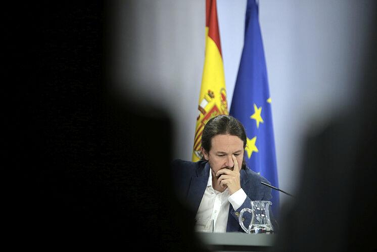 Le vice-président du gouvernement, Pablo Iglesias, dans un conseil de ...