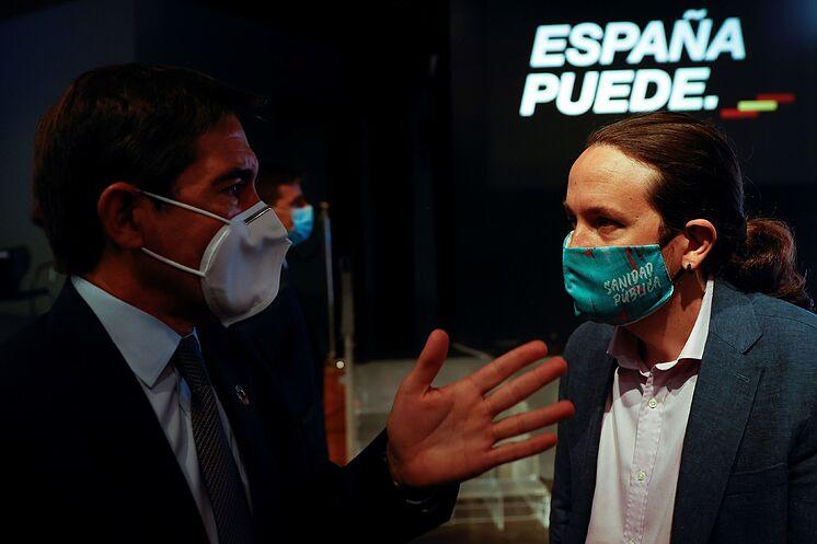 Le vice-président du gouvernement, Pablo Iglesias, s'entretient avec le ...