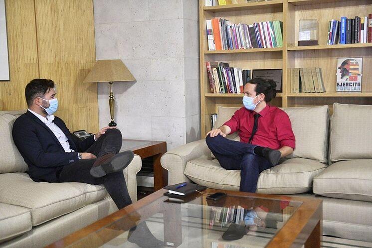 Le deuxième vice-président du gouvernement, Pablo Iglesias, lors de son ...