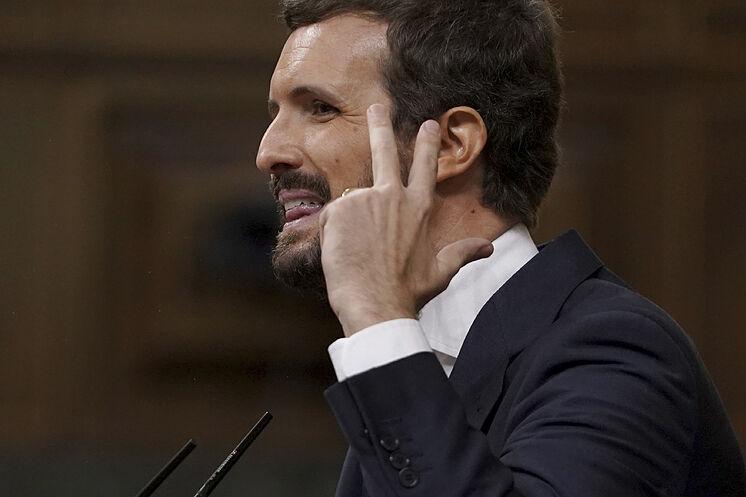 Le leader du PP, Pablo Casado, lors de son intervention dans le débat ...