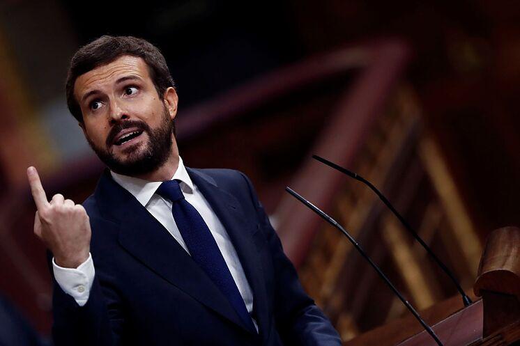 Le président du PP, Pablo Casado, à un moment de son discours